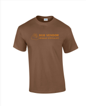 Dub Vendor Reggae Specialist T-Shirt - ORIGINAL LOGO - BROWN / BURNT ORANGE
