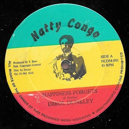 ORIGINAL PRESS: Errol Dunkley - Happiness Forgets / Part 2 (Natty Congo) 12""
