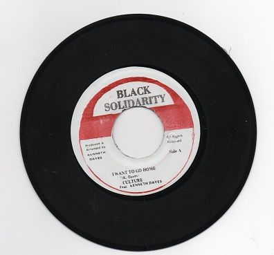 SALE ITEM - Culture featuring Kenneth Davies - I Want To Go Home / Harry T - Nyahbinghi Vibe (Black Solidarity) JA 7""